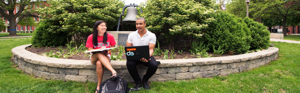 two students sitting on the quad with a laptop.